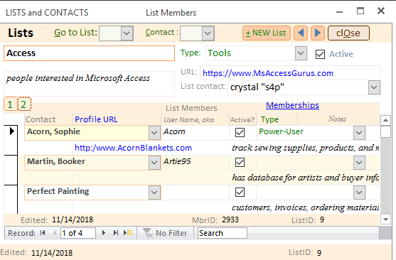 My Contacts (Microsoft Access) free database